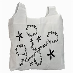 Flower Floral Black Line Wave Chevron Fleurs Recycle Bag (Two Side)