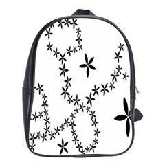 Flower Floral Black Line Wave Chevron Fleurs School Bags(Large)