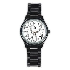 Flower Floral Black Line Wave Chevron Fleurs Stainless Steel Round Watch