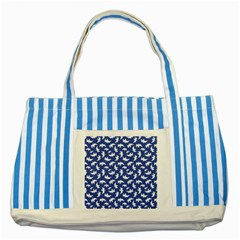 Birds Silhouette Pattern Striped Blue Tote Bag