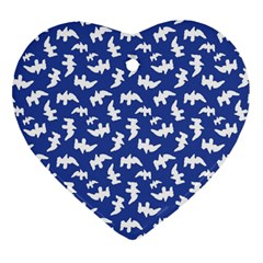 Birds Silhouette Pattern Heart Ornament (two Sides)