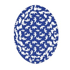 Birds Silhouette Pattern Oval Filigree Ornament (two Sides)