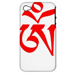 Tibetan Om Symbol (Red) Apple iPhone 4/4S Hardshell Case (PC+Silicone)