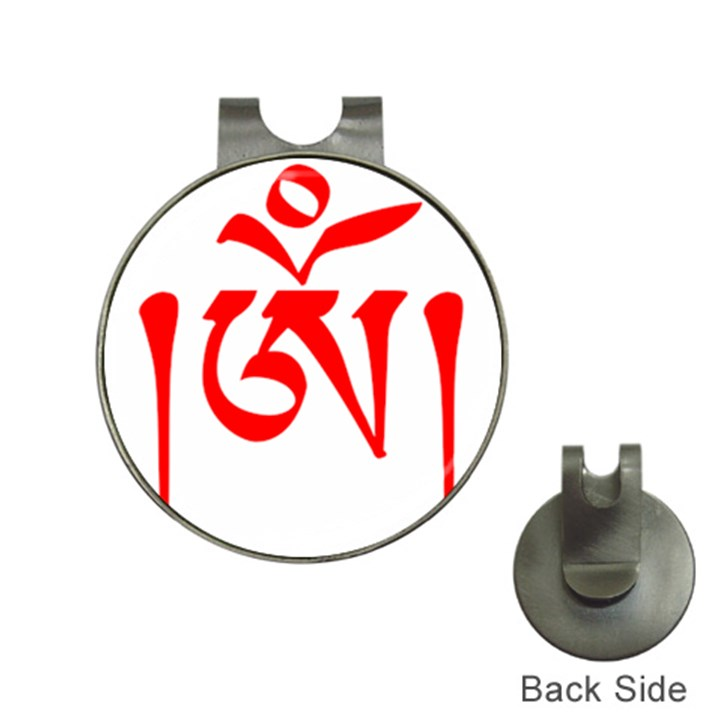 Tibetan Om Symbol (Red) Hat Clips with Golf Markers