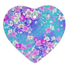 Flowers Cute Pattern Ornament (heart)