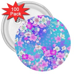 Flowers Cute Pattern 3  Buttons (100 pack)