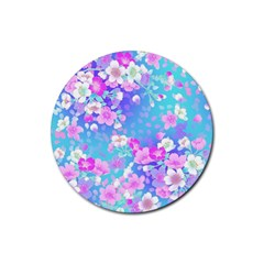 Flowers Cute Pattern Rubber Round Coaster (4 pack)