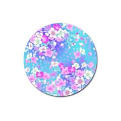 Flowers Cute Pattern Magnet 3  (Round)