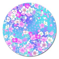 Flowers Cute Pattern Magnet 5  (Round)