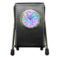 Flowers Cute Pattern Pen Holder Desk Clocks
