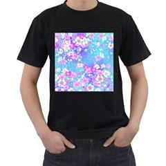 Flowers Cute Pattern Men s T Shirt (black) (two Sided)