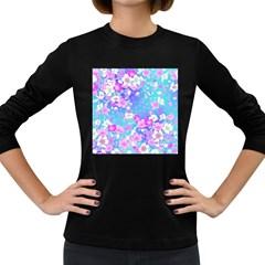 Flowers Cute Pattern Women s Long Sleeve Dark T Shirts