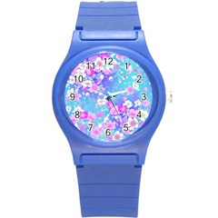 Flowers Cute Pattern Round Plastic Sport Watch (S)