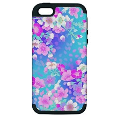 Flowers Cute Pattern Apple Iphone 5 Hardshell Case (pc+silicone)