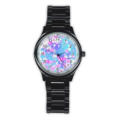 Flowers Cute Pattern Stainless Steel Round Watch