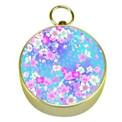 Flowers Cute Pattern Gold Compasses