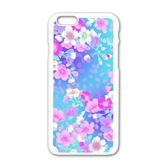 Flowers Cute Pattern Apple Iphone 6/6s White Enamel Case