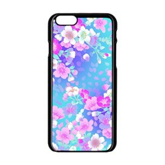 Flowers Cute Pattern Apple Iphone 6/6s Black Enamel Case