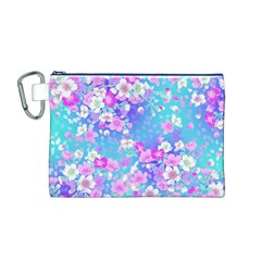 Flowers Cute Pattern Canvas Cosmetic Bag (M)