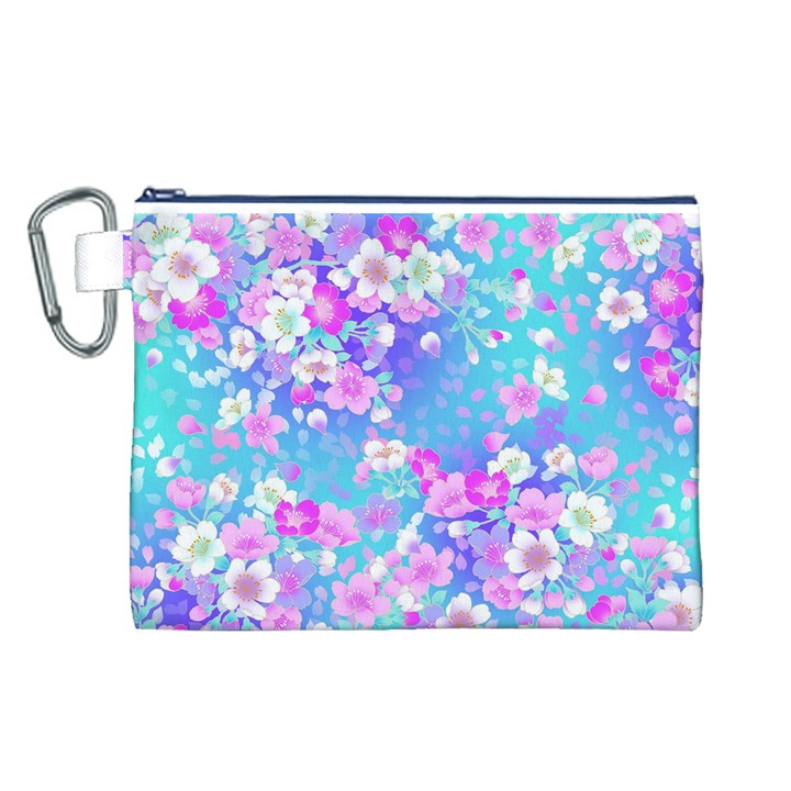 Flowers Cute Pattern Canvas Cosmetic Bag (L)