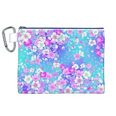 Flowers Cute Pattern Canvas Cosmetic Bag (xl)