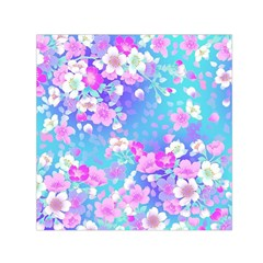 Flowers Cute Pattern Small Satin Scarf (Square)