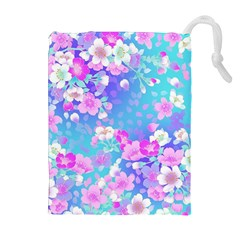 Flowers Cute Pattern Drawstring Pouches (Extra Large)