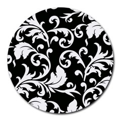 Black And White Floral Patterns Round Mousepads