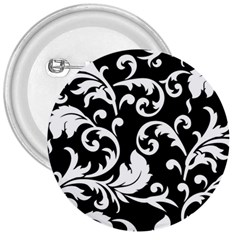 Black And White Floral Patterns 3  Buttons