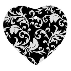 Black And White Floral Patterns Ornament (heart)