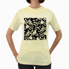 Black And White Floral Patterns Women s Yellow T Shirt