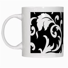 Black And White Floral Patterns White Mugs