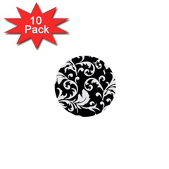 Black And White Floral Patterns 1  Mini Buttons (10 Pack)