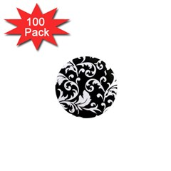 Black And White Floral Patterns 1  Mini Magnets (100 Pack)