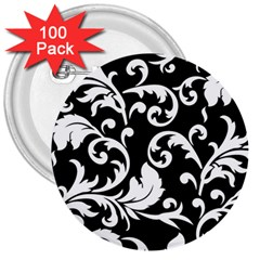 Black And White Floral Patterns 3  Buttons (100 Pack)