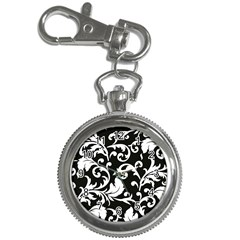 Black And White Floral Patterns Key Chain Watches