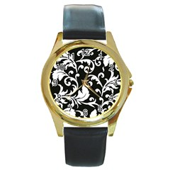 Black And White Floral Patterns Round Gold Metal Watch