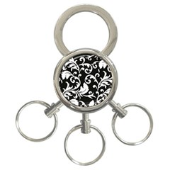 Black And White Floral Patterns 3 Ring Key Chains