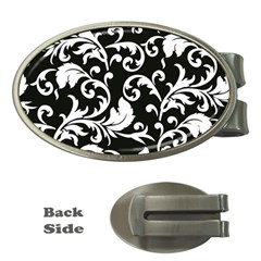 Black And White Floral Patterns Money Clips (Oval)