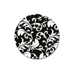 Black And White Floral Patterns Magnet 3  (Round)
