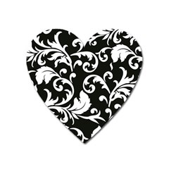 Black And White Floral Patterns Heart Magnet