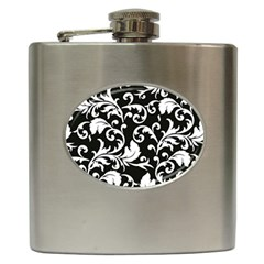 Black And White Floral Patterns Hip Flask (6 oz)
