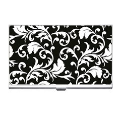 Black And White Floral Patterns Business Card Holders