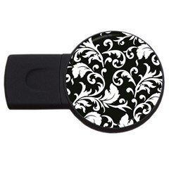 Black And White Floral Patterns USB Flash Drive Round (1 GB)
