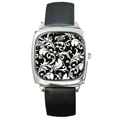 Black And White Floral Patterns Square Metal Watch