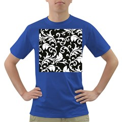 Black And White Floral Patterns Dark T-Shirt