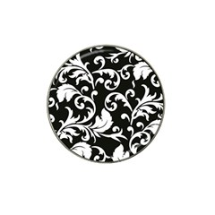 Black And White Floral Patterns Hat Clip Ball Marker (4 Pack)