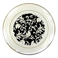 Black And White Floral Patterns Porcelain Plates