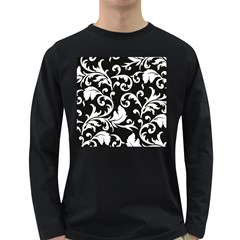 Black And White Floral Patterns Long Sleeve Dark T Shirts