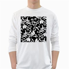 Black And White Floral Patterns White Long Sleeve T-Shirts